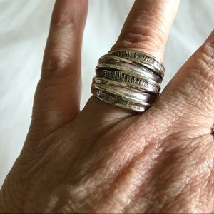 Brutalist Layered Chunky Sterling Silver Ring 8.5